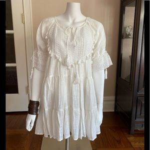 Indikah White Lace Dress with Tassels